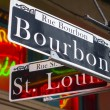 Street sign of New Orleans most famous street Bour...