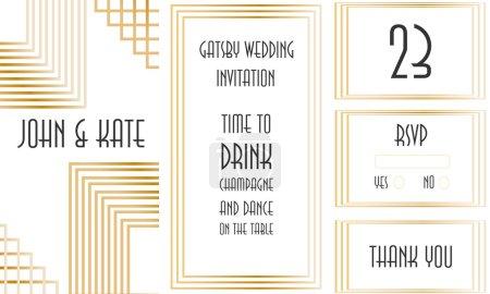 Art Deco white wedding invitation set with golden frame