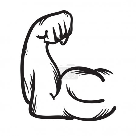 Strong arm vector hand drawn icon. Power.