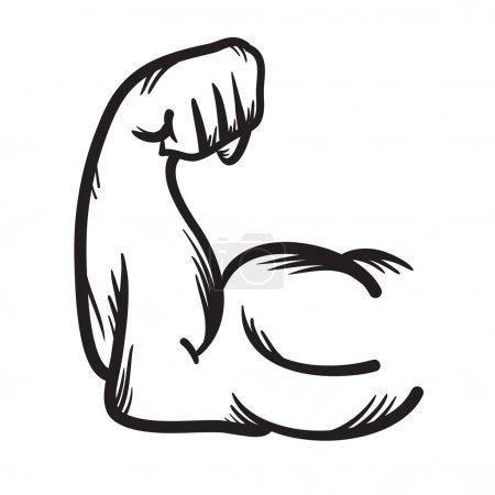 Illustration pour Vecteur de bras fort dessiné à la main icône. Illustration de puissance . - image libre de droit