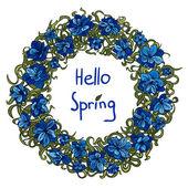 Jarní rám s modrými květy
