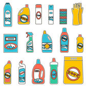 Group bottles of chemicals for household on white background