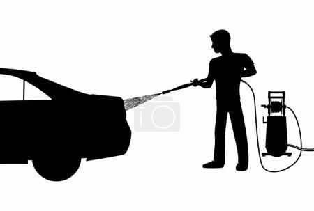 Silhouette of Man washing a car