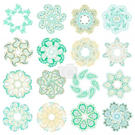 Vector set of colorful round pattern