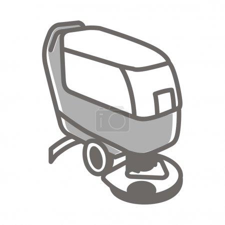 Vector icon of scrubber machine