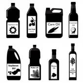 Vector set black icons of oil for frying