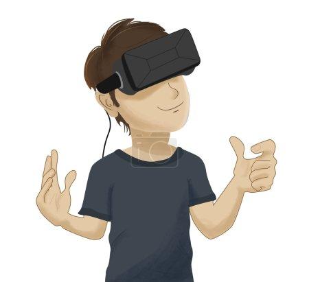 Photo pour Hombre con unas gafas Vr de realidad virtual. Las gafas estan conectadas une ONU ordenador o un smart phone y ve contenido immersivo frente a sus ojos - image libre de droit