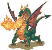 Muscular Dragon Breathing Fire Vector Illustration