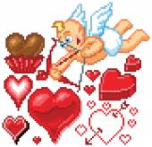 Valentines Day Themed Pixel Art Hearts and Cupid