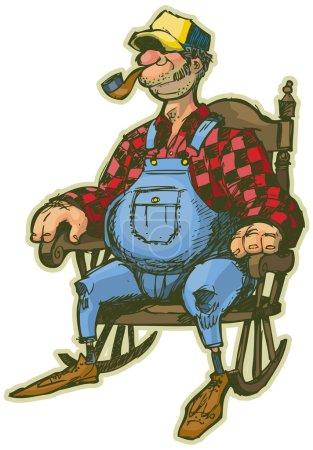 Elderly Man In Rocking Chair Vector Cartoon Clip Art Illustration