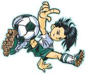 Asijské Break Dance fotbal dívka Vektor Klipart