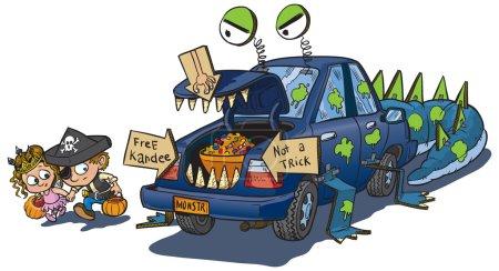 Illustration pour Une illustration vectorielle de dessin animé clip art de deux enfants approchant prudemment une voiture décorée pour un coffre ou traiter événement sur Halloween. La voiture est décorée pour ressembler à un monstre qui mange des enfants imprudents . - image libre de droit