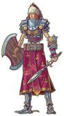 Warrior Woman with Red Hair Vector Cartoon Clip Art Illustration