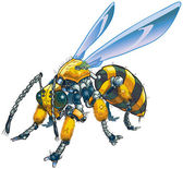 Vector cartoon clip art illustration of a robot wasp or bee Could also be a conceptual illustration of future drone technology