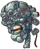Vector cartoon clip art illustration of a robot skull