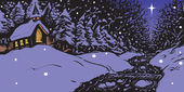 Vector cartoon clip art illustration of a snowy winter evening featuring a church with lit windows near a creek or stream and a single star in the sky