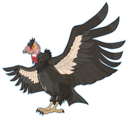 California Condor Cartoon Vector Clip Art Illustration