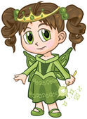 Vector cartoon clip art illustration of a brown haired caucasian girl wearing a fairy princess costume drawn in an anime or manga style She is in a