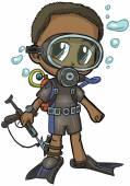 Anime Scuba Diver Boy Vector Cartoon Clip Art Illustration