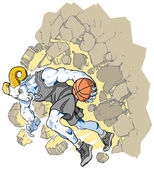 Cartoon vector clip art illustration of a charging bighorn sheep or ram basketball player mascot crashing through a wall Character art is on a separate layer Uniform can be changed to any color in vector file