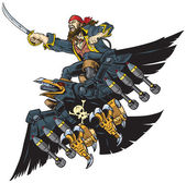 Pirate Riding Robot Crow or Raven Vector Cartoon Clip Art Illustration