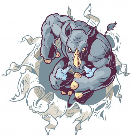 Mascot Rhino Ripping Through Paper Background Front Vector Cartoon Clip Art Illustration