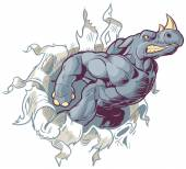 Mascot Rhino Ripping Right Through Paper Background Vector Cartoon Clip Art Illustration