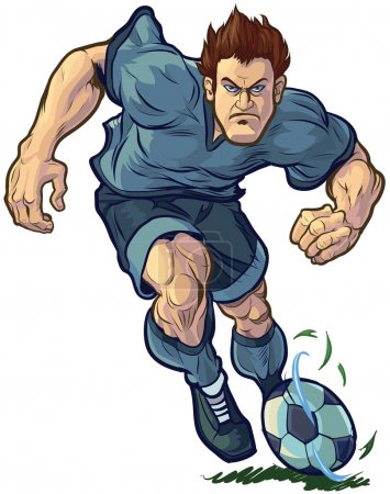 Tough Soccer Player Dribbling Vector Illustration