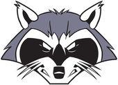 Rough Mean Cartoon Raccoon Mascot Head