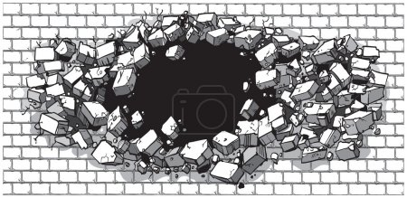 Hole Breaking Through Wide Brick Wall Vector Cartoon Clip Art illustration