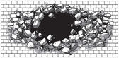 Hole Breaking Through Wide Brick Wall Vector Cartoon Clip Art illustration