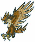 Vector Cartoon Hawk Eagle or Falcon Diving or Swooping