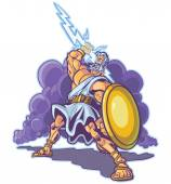 Vector clip art cartoon illustration of an angry greek or roman thunder and lightning god or titan mascot raising a lighting bolt and holding a shield Cloud is on a separate layer