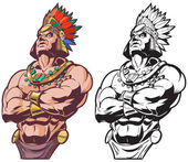 Inca or Mayan or Aztec Warrior or Chief Vector Mascot