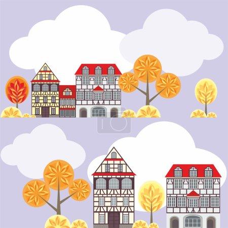 Illustration pour Motif sans couture avec l'image de vieilles maisons de ville dans le style à colombages, nuages et arbres. paysage urbain d'automne . - image libre de droit