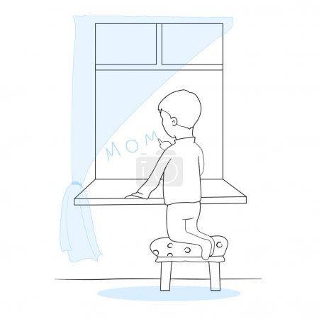 The little boy writes mother at a window. Lonely sad child. Linear vector illustration