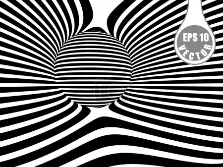 Images in the style of optical illusions - Op art. Black and white background.