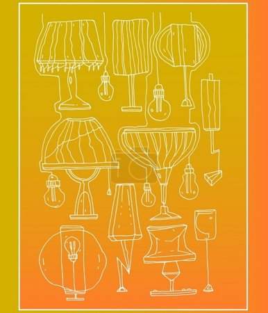 Hand draw lamps and floor lamps with bulbs on gradient background.