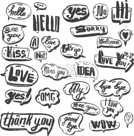 A set of colourful and retro comic book design elements with speech bubbles. Doodle design with short messages.Hand painted ink.Design elements for banner, flyer, business, card, poster.