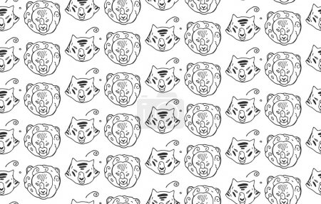 Animals heads drawings seamless pattern of predatory  wild cat animals tiger and lion.Hand painted.Black and white animal pattern.Vintage  doodle design elements for banner, flyer, business, card, pos