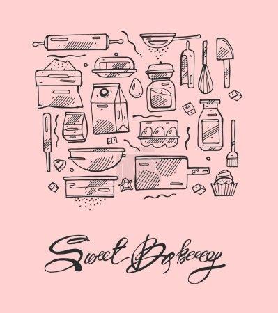 Photo pour Ligne mince douce boulangerie cuisine dessiner à la main vectoriel icônes ensemble. Icônes pour la nourriture et les boissons, restaurant, café et bar, livraison de nourriture sur fond rose . - image libre de droit