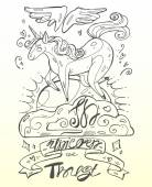 Cute  magic unicorn vector illustrationHand draw white and black  winged  unicorn on  a cloud with the sunsetIn Unicorn we trust hand draw calligraphyIsolated on pastel