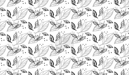 Decorative seamless black and white pattern with leaves. Endless stylish texture. Template for design textile