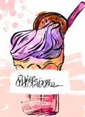 Hand draw vector textured card of milkshakeFruit smoothie
