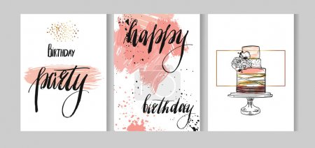 Set of birthday greeting abstract textured cards s...