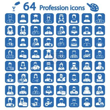 Illustration pour Grand ensemble d'icône de profession - image libre de droit