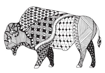 Illustration pour Bison zentangle stylisé, vectoriel, illustration, crayon à main levée. Modèle. L'art zen. Impression pour t-shirts . - image libre de droit