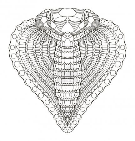 Cobra snake heart shape head zentangle stylized, vector, illustration, freehand pencil, hand drawn, pattern.