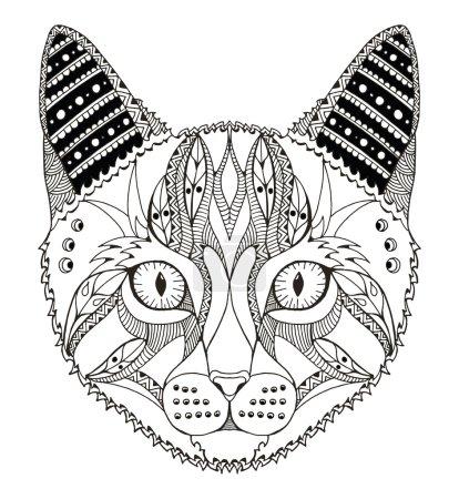 Cat head zentangle stylized, vector, illustration, pattern, freehand pencil, hand drawn. Zen art. Ornate. Lace.