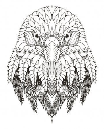 Eagle head zentangle stylized, vector, illustration, freehand pencil, hand drawn, pattern. Zen art. Ornate vector. Lace. Coloring